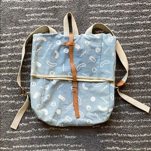 Blue cotton leather patterned laptop backpack UO